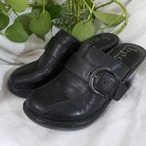 b.o.c. Black Leather Clogs, sz 7M